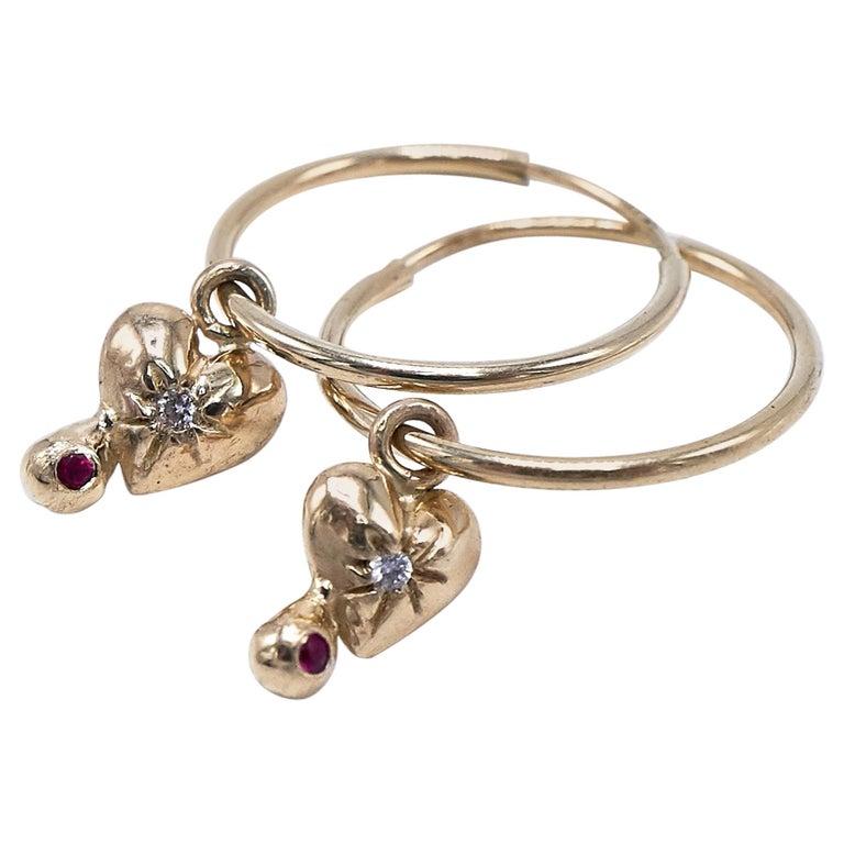 White Diamond Ruby Heart Earring Gold Hoop J Dauphin For Sale