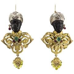"White Diamond Ruby Emerald Quartz Ebony Yellow Gold ""Moor of Venice"" Earrings"