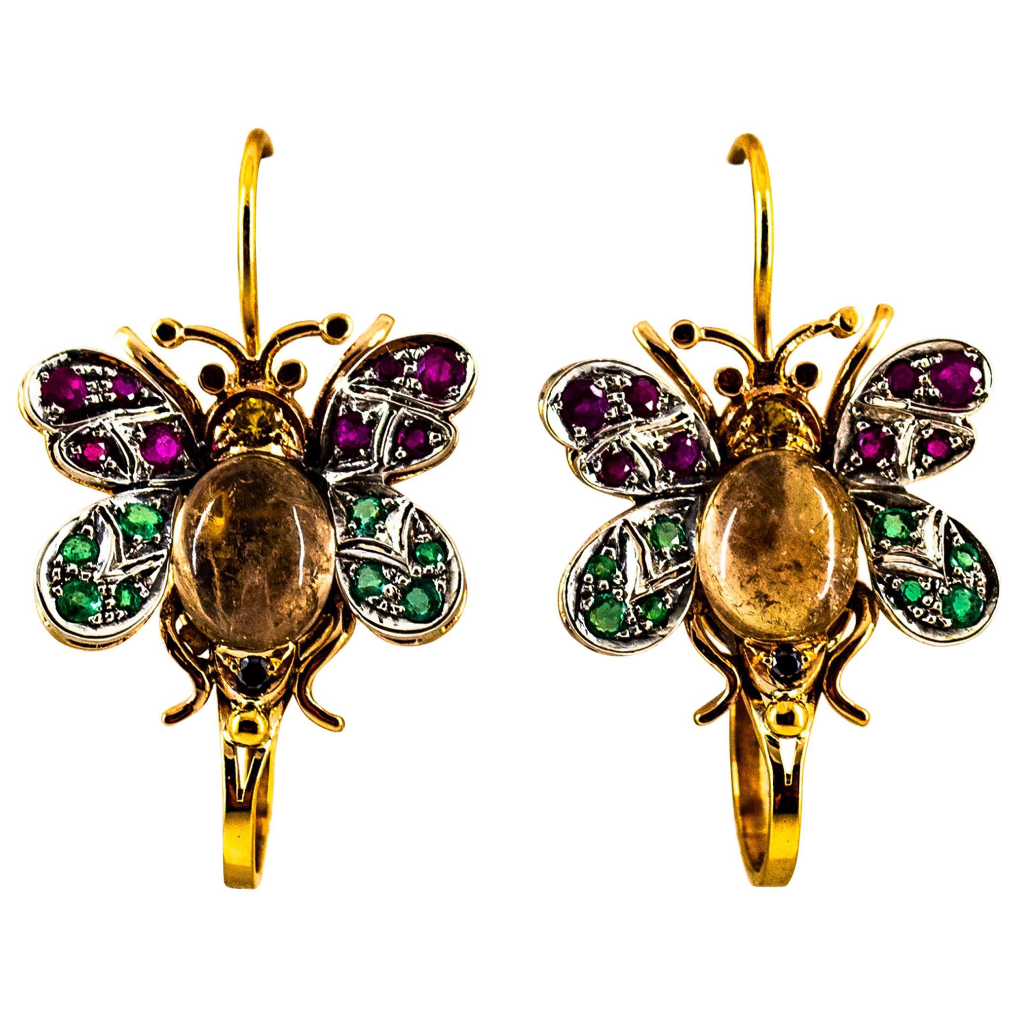 White Diamond Ruby Emerald Sapphire Tourmaline Yellow Gold Lever-Back Earrings