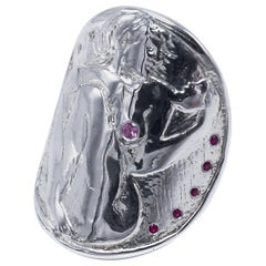 Cocktail Statement Medal Coin Silver Ring Woman White Diamond Ruby Pink Sapphire