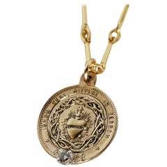 White Diamond Sacred Heart Medal Bronze Long Chain Necklace J Dauphin