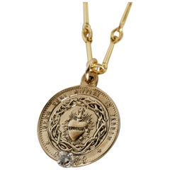 White Diamond Sacred Heart Coin Medal Pendant Gold Filled Chain Necklace