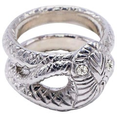 Snake Ring Sterling Silver White Diamond Victorian Style J Dauphin