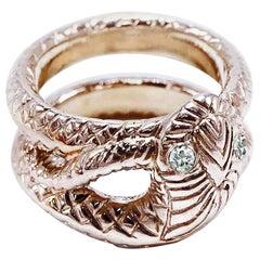 White Diamond Snake Ring Cocktail Ring Bronze J Dauphin