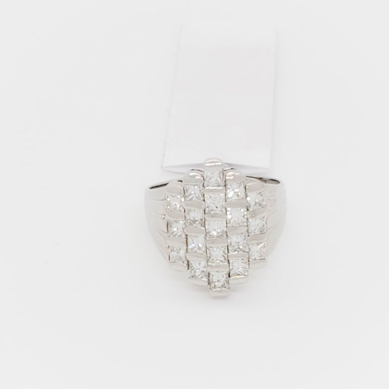 Beautiful fashion ring with 1.97 ct. good quality white and bright diamond squares in a handmade platinum mounting.  Ring size 7.75.