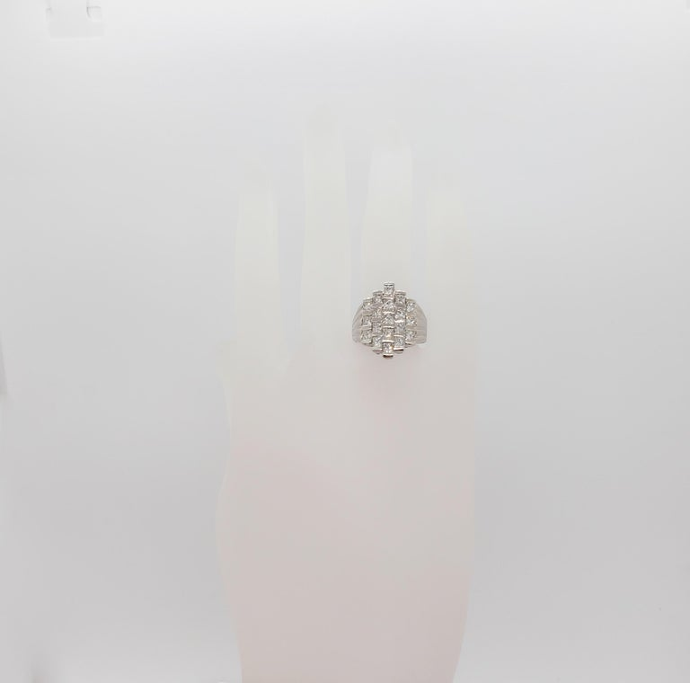 White Diamond Square Fashion Ring in Platinum In New Condition For Sale In Los Angeles, CA