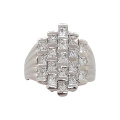White Diamond Square Fashion Ring in Platinum