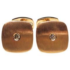 Berca White Diamond Squared Shaped 18 Karat Brushed Rose Gold Cufflinks