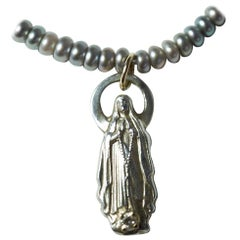 White Diamond Virgin Mary Figurine Pendant Silver Pearl Turquoise J Dauphin