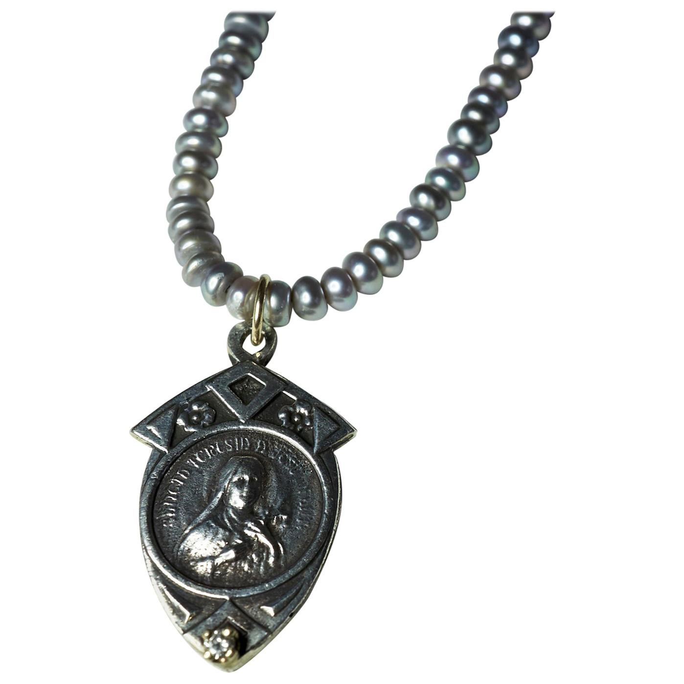 White Diamond Pearl Virgin Mary Mother Mary Medal Pendant Necklace J Dauphin