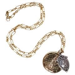 White Diamond Virgin Mary Necklace Chunky Chain Pendant J Dauphin
