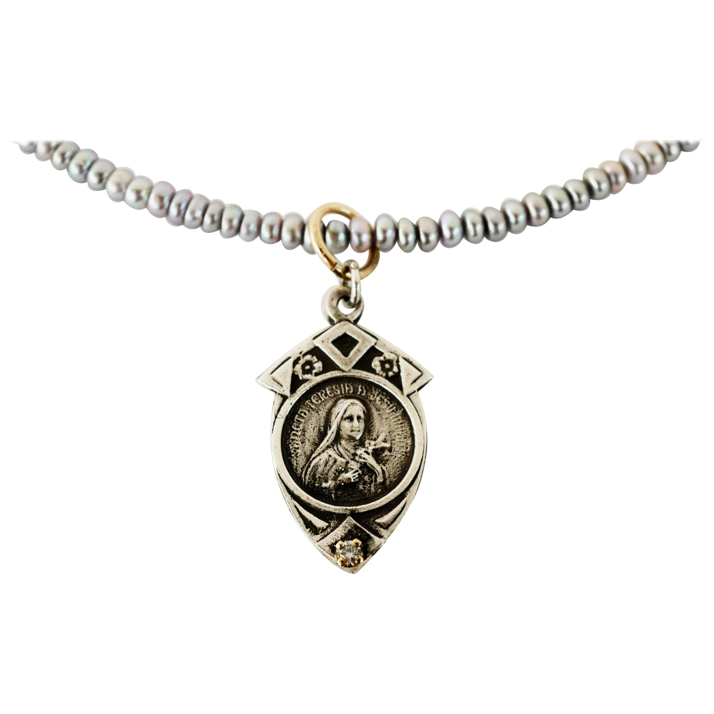 Medal Virgin Mary Necklace Bead Silver Pendant Pearl Turquoise J Dauphin