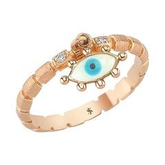White Diamond & White Enameled Eye Ring in 14K Rose Gold with Diamond