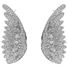 White Diamond White Gold, Angel Wing Earrings