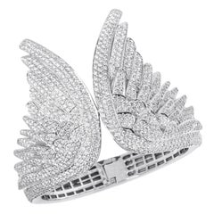 White Diamond White Gold Bracelet Cuff, Angel Wing Cuff