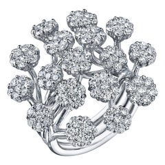 White Diamond White Gold Cluster Cocktail Ring