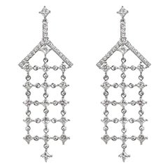 White Diamond White Gold Drop Earrings, Chandelier Earrings