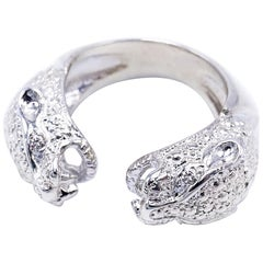 White Diamond White Gold Jaguar Ring Engagement Open 14 Karat J Dauphin