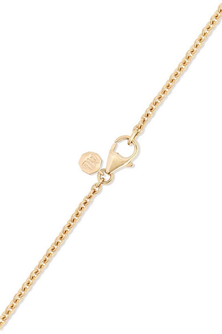 Contemporary Marlo Laz Diamond White Onyx Opal 14K Yellow Gold Evil Eye Pendant Necklace For Sale