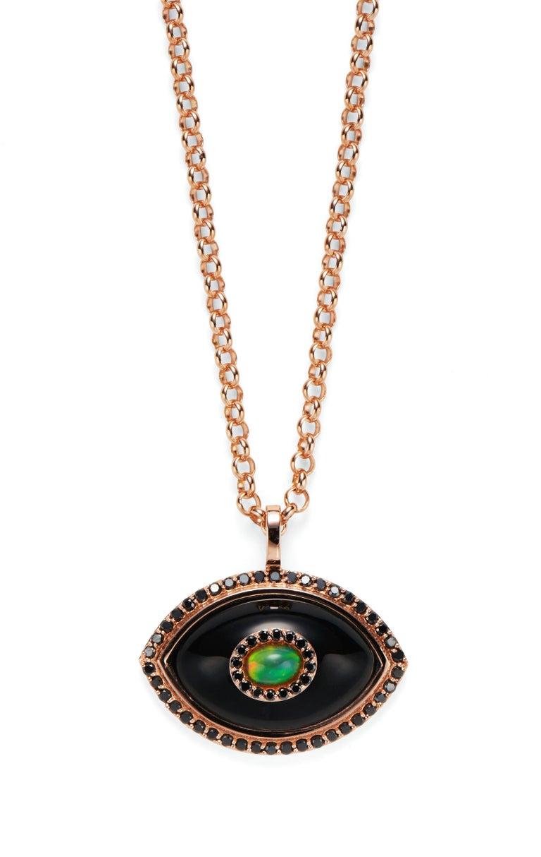 Women's Marlo Laz Diamond White Onyx Opal 14K Yellow Gold Evil Eye Pendant Necklace For Sale