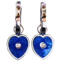 Berca White Diamond White Royal Blue Heart Shaped Gold Removable Dangle Earrings