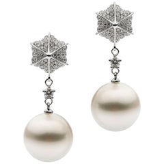 Autore White Diamond White South Sea Pearl Drop Earrings