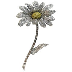 White Diamond Yellow Diamond Brooch White Gold Yellow Gold