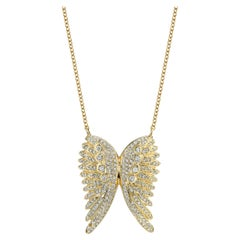 White Diamond Yellow Gold Angel Wing Pendant Necklace