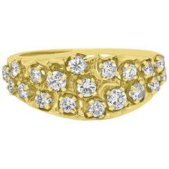 White Diamond Round Yellow Gold Band Cocktail Fashion Ring
