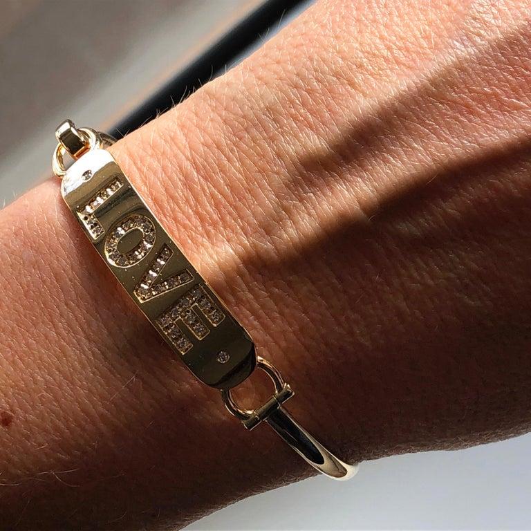 White Diamond Yellow Gold Contemporary Love Bracelet For Sale 6