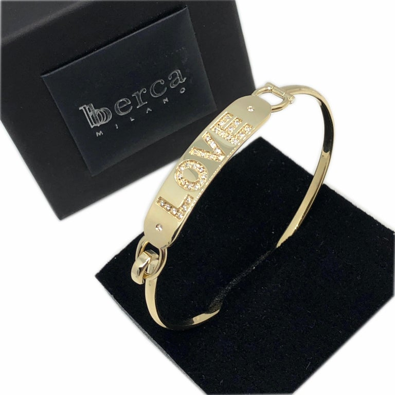 White Diamond Yellow Gold Contemporary Love Bracelet In New Condition For Sale In Valenza, IT