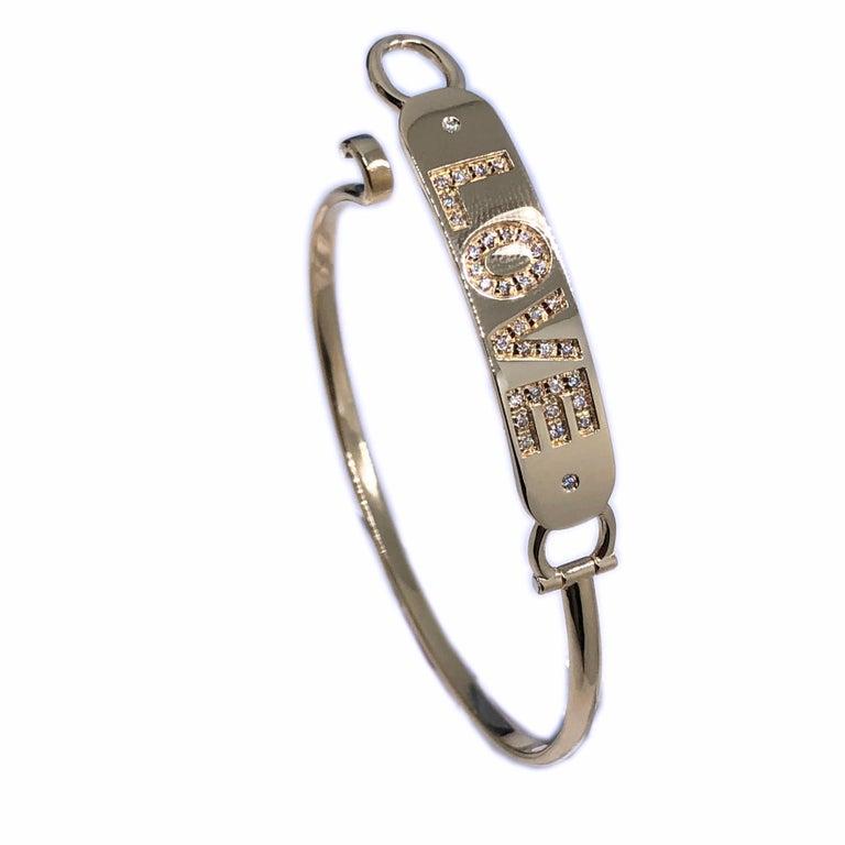 Women's or Men's White Diamond Yellow Gold Contemporary Love Bracelet For Sale