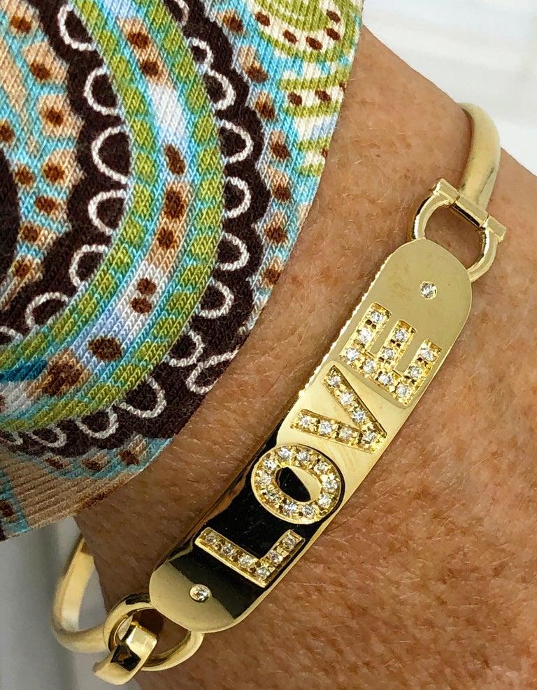 White Diamond Yellow Gold Contemporary Love Bracelet For Sale 1