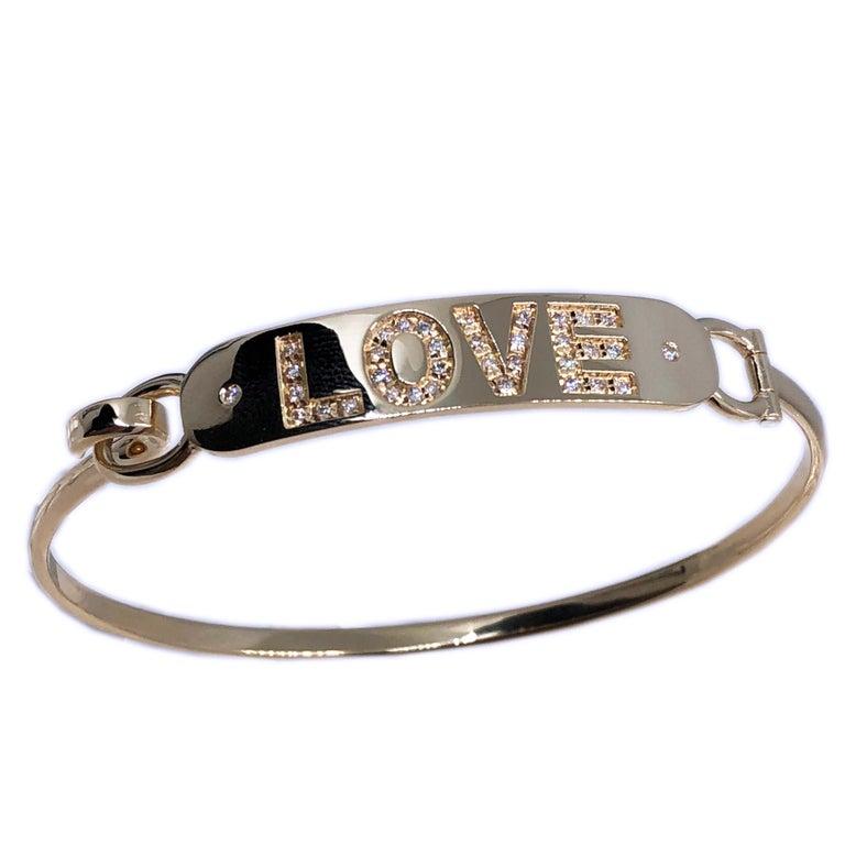 White Diamond Yellow Gold Contemporary Love Bracelet For Sale 3