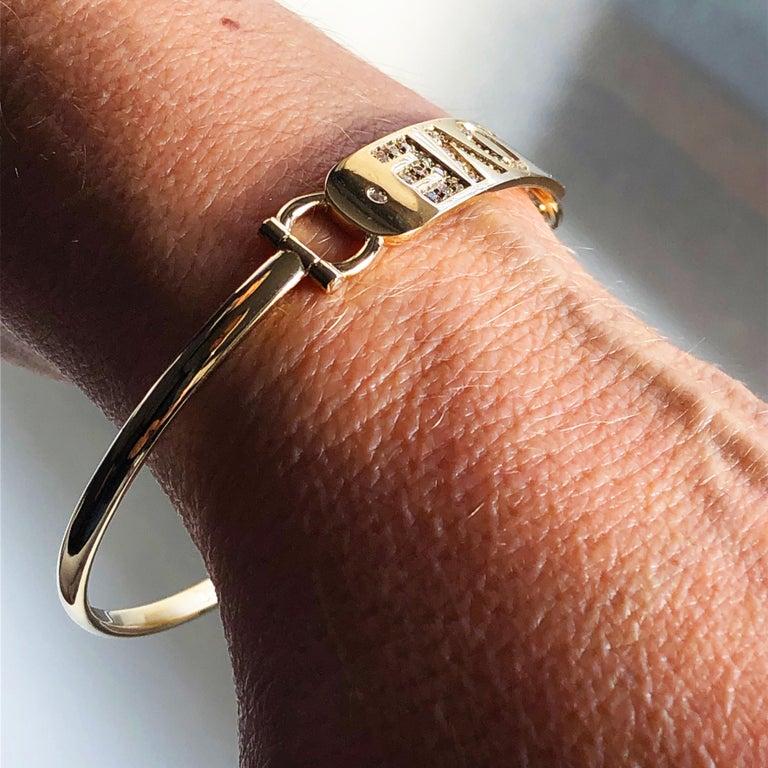 White Diamond Yellow Gold Contemporary Love Bracelet For Sale 4
