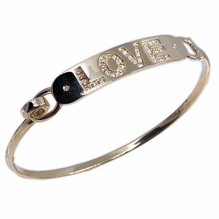 White Diamond Yellow Gold Contemporary Love Bracelet For Sale