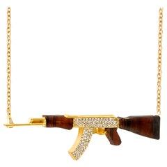 White Diamond Yellow Gold Pendant Necklace, Ak Pendant