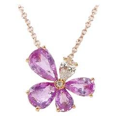 White Diamonds 0.10 Carat Pink Sapphires 1.35 Carat 18 Karat Rose Gold Pendant