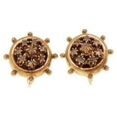 White Diamonds 18 Karat Rose Gold Vintage Rudder Earrings