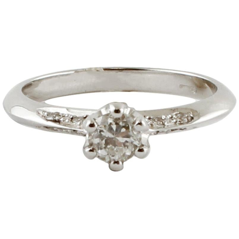 White Diamonds, 18 Karat White Gold Engagement Ring