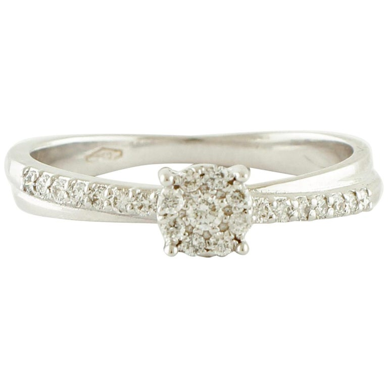 White Diamonds, 18 Karat White Gold Engagement/Solitaire Ring For Sale