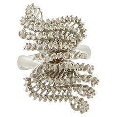White Diamonds, 18 Karat White Gold Fashion Design Ring