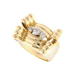 White Diamonds 18 Karat White Yellow Gold Vintage Bow Ring