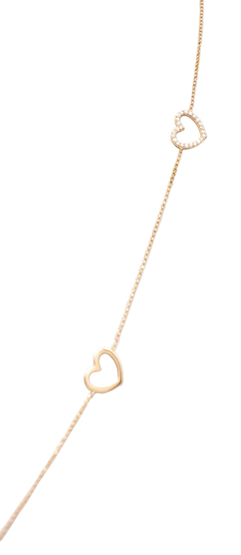 Modern White Diamonds, 18K Rose Gold, Heart Theme, Chain Necklace For Sale