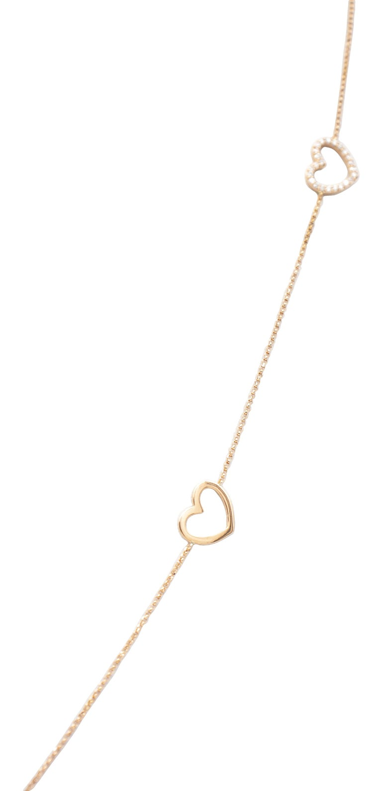 Round Cut White Diamonds, 18K Rose Gold, Heart Theme, Chain Necklace For Sale