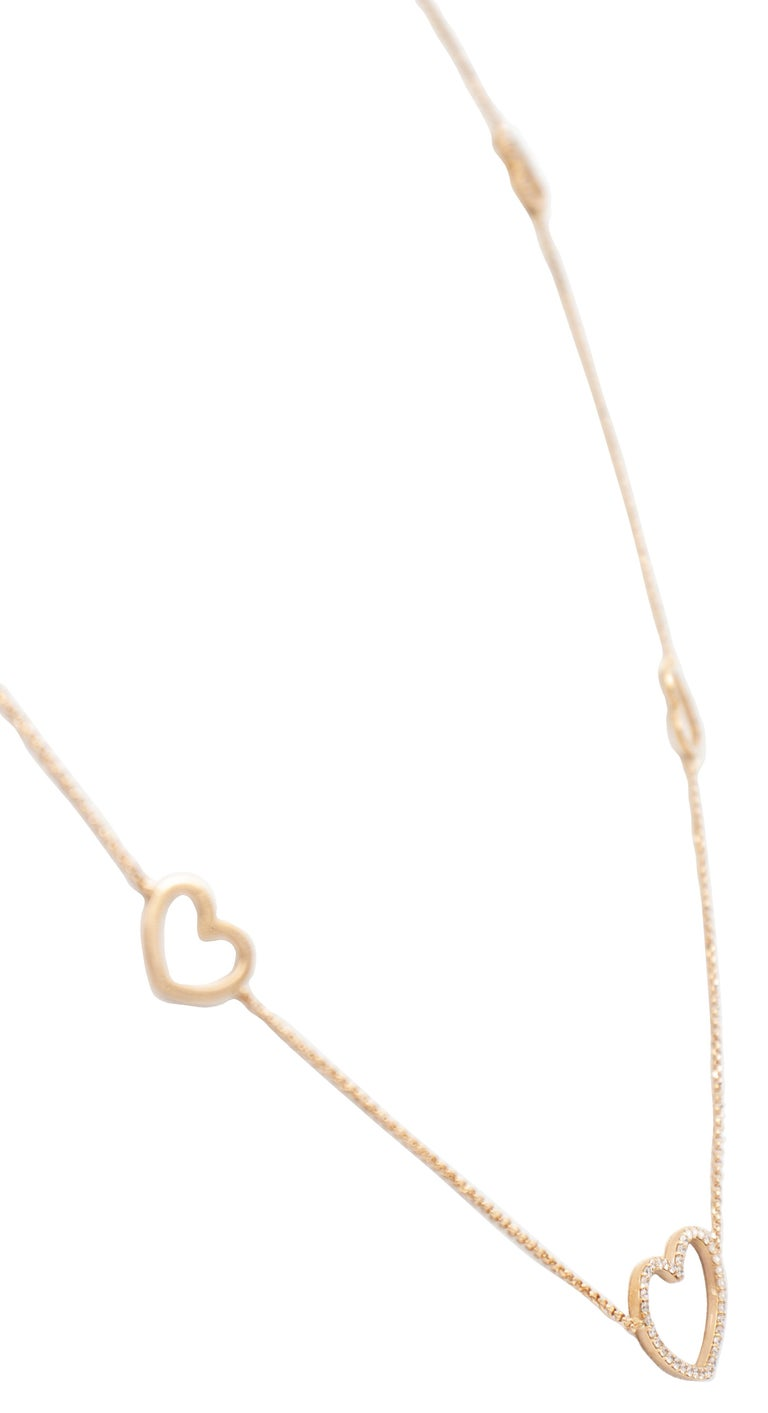 White Diamonds, 18K Rose Gold, Heart Theme, Chain Necklace In Excellent Condition For Sale In Marcianise, Marcianise (CE)