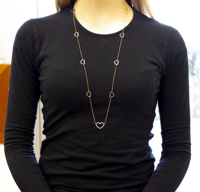 Women's or Men's White Diamonds, 18K Rose Gold, Heart Theme, Chain Necklace For Sale