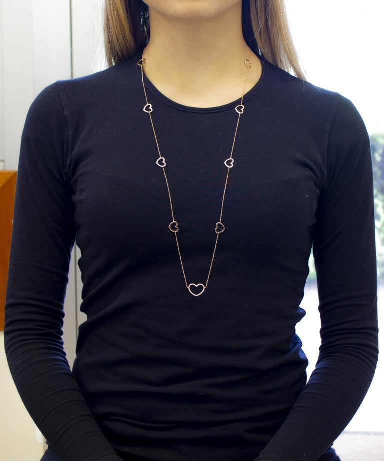 White Diamonds, 18K Rose Gold, Heart Theme, Chain Necklace For Sale 1