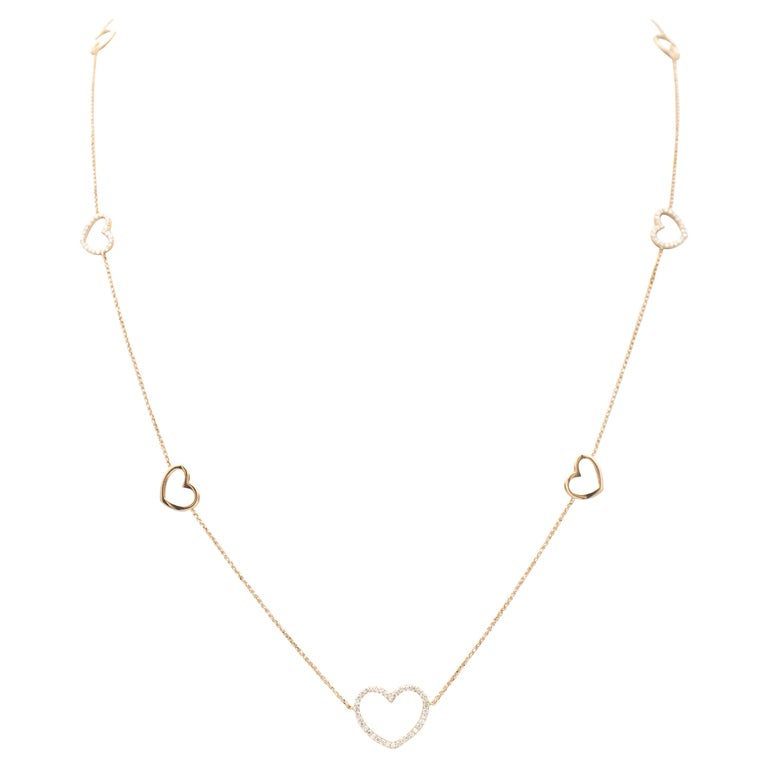 White Diamonds, 18K Rose Gold, Heart Theme, Chain Necklace For Sale