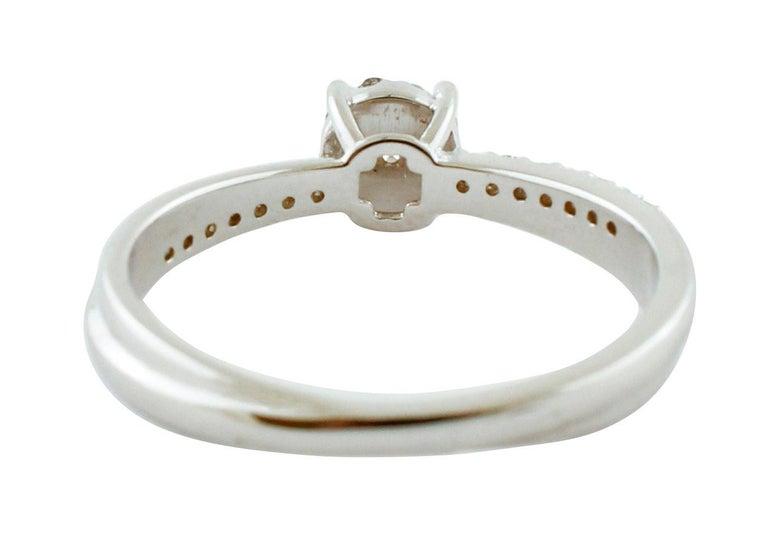 Modern White Diamonds, 18 Karat White Gold Engagement/Solitaire Ring For Sale